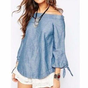 Free People off the shoulder linen blouse blue M